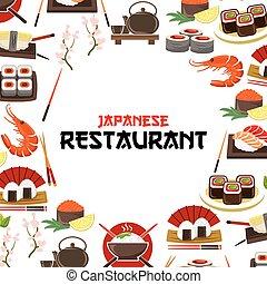 Japanese restaurant poster seafood sushi, sashimi - Sushi,...