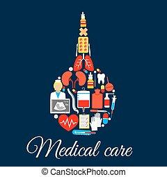 Medical care poster of enema syringe vector symbol - Medical...