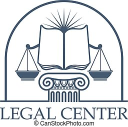 Legal Center Scales of Justice, law open book icon -...