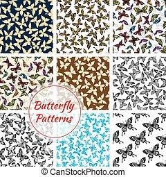 Butterflies and moth seamless patterns set - Butterflies...