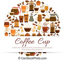 Coffee poster of espresso, latte hot drinks cups