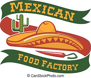 Mexican food restaurant sombrero hat vector icon - Mexican...