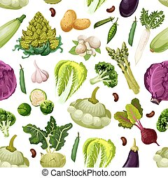 Vegetables vegetarian vector seamless pattern - Vegetables...