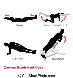 excercise physical muscle silhouette illustration vector set