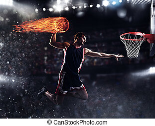 Basket player throws the fireball at the stadium - Player...
