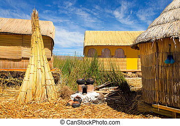 Manmade Floating Island View - Houses on one of the Uros...