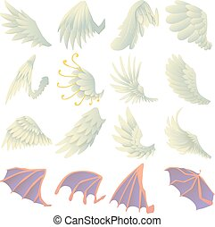 Different wings icons set, cartoon style - Different wings...