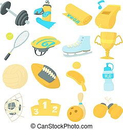 Sport items icons set, cartoon style