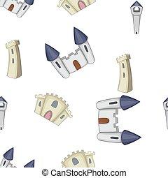 Ancient castle pattern, cartoon style - Ancient castle...