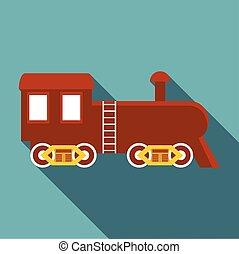 Locomotive icon, flat style - Locomotive icon. Flat...