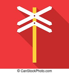 Railroad crossing sign icon, flat style