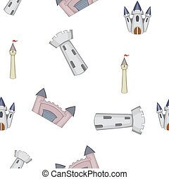 Castle pattern, cartoon style - Castle pattern. Cartoon...