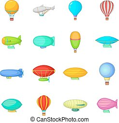 Vintage balloons icons set, cartoon style - Vintage balloons...