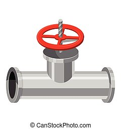 Pipe with a valve icon, cartoon style - Pipe with a valve...
