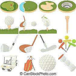Golf items icons set, cartoon style