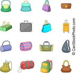 Different bagage icons set, cartoon style - Different bagage...