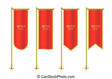 Red vertical banner flag vector templates