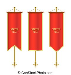 Different shaped red vertical banner flags.