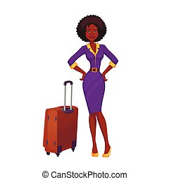 African girl on vacation. Beautiful African American woman....