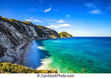 Elba island, Portoferraio Sansone white beach coast....
