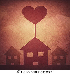 house of love - heart and house symbol in vintage style