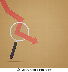 economic crisis - magnifying glass and arrow down in retro...
