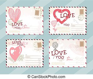 Valentine LOVE postcard card design Vector Template Cute set