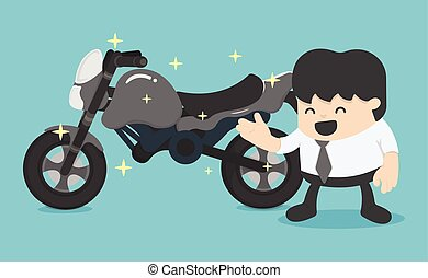 business man with a new motorcycle.