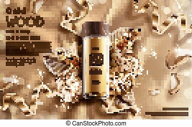 golden wood essence ad, contained in a small bottle with...