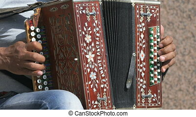 Man aged 60s plays the accordion outdoors in summer. Close...