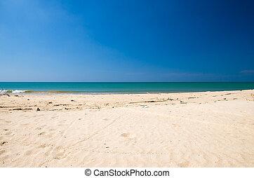 Waves, sea and sky blue