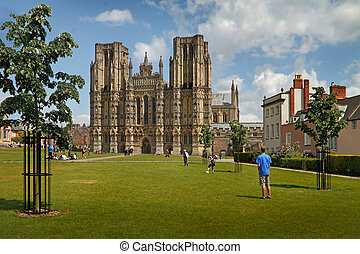 Cathedral at Wells - The 12th century cathedral at Wells in...