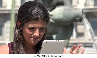 Happy Woman Using Smart Device Or Tablet