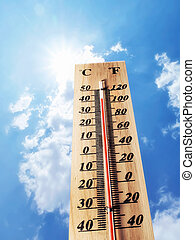 hot temperature - sunlight blue sky and hot temperature