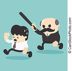 illustration businessman was attacked by the boss