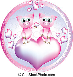 Pretty pigs in the circle with hearts.