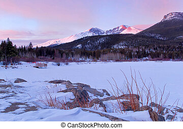 Long's Peak and Lily Lake sunrise in Estes park, Colorado -...