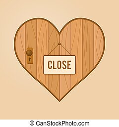 Heart Shaped Wooden Door With Close Hanging Sign