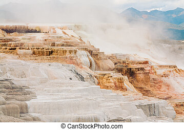 Canary Springs located in Mammoth Hot Springs, Yellowstone...