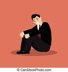Desperate businessman sitting alone