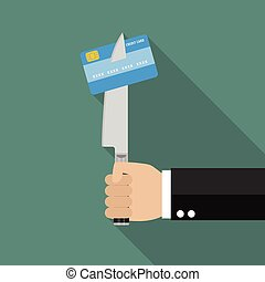 Man knifed credit card. Vector illustration