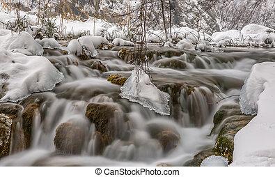 Plitvice lakes winter cascade - Frozen cascades in winter...