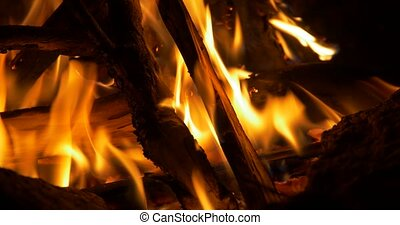 Beautiful Campfire, Bonfire Closeup - Native Material,...