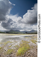 Clouds with blue sky over irish hills and estuary