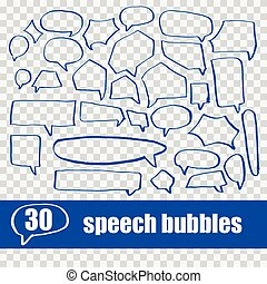 vector set hand drawn speech bubbles