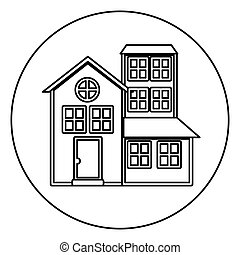 monochrome contour circle of house with three floors vector...