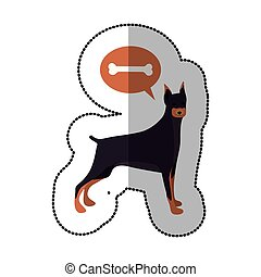 colorful image middle shadow sticker with doberman pinscher...
