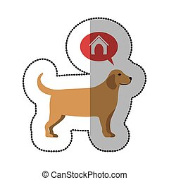 colorful image middle shadow sticker with golden retriever...