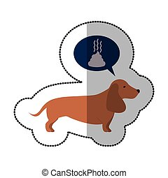 colorful image middle shadow sticker with dachshund dog...