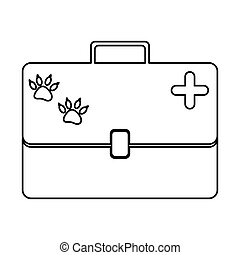 monochrome silhouette with vet first aid suitcase